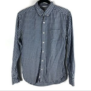 🌷Lucky Brand White Label Fit Blue  Gingham Shirt